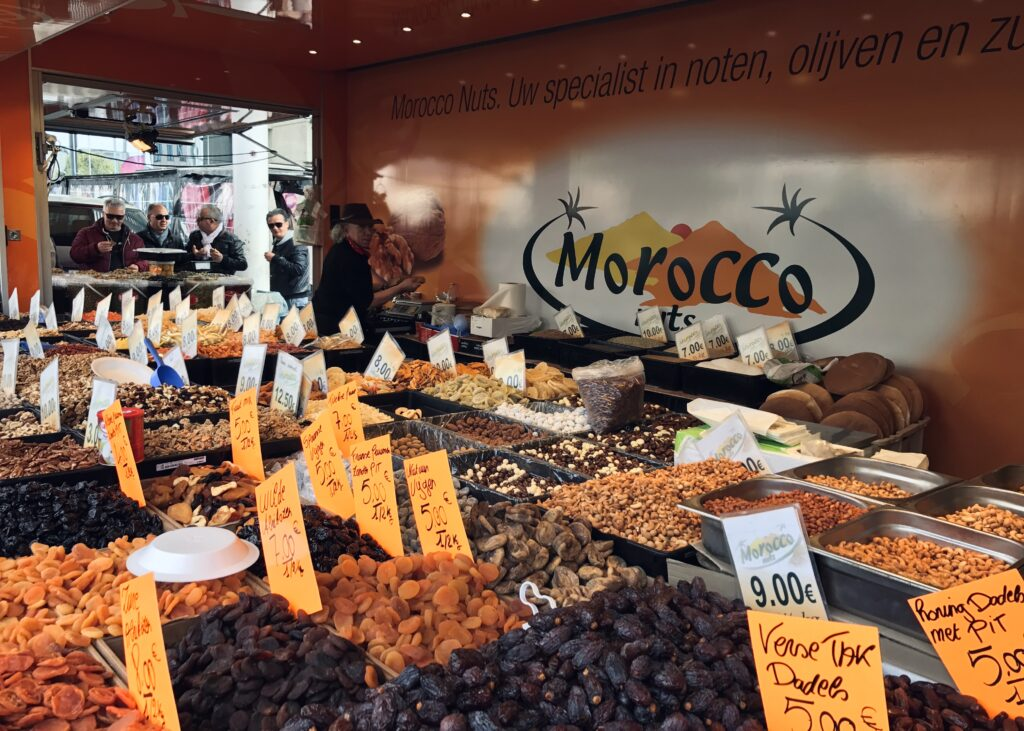 Nuts and dried fruit at exotic market in Antwerp