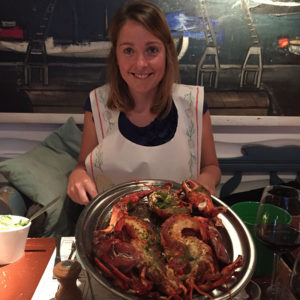 Petra eating lobster in Antwerp at fish and eat