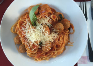 A Plate of meatballpasta at restaurant Primo