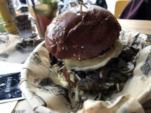 Gatsby burger with mushrooms