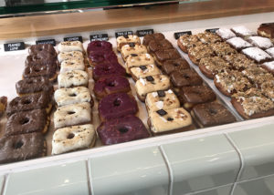 Donuts displayed at donut shop Hoeked